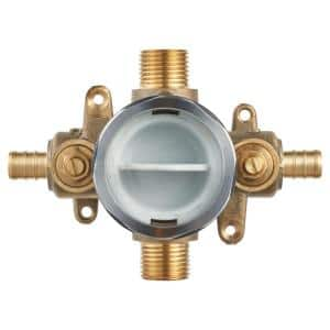Flash Shower Rough-In Valve with PEX Inlets/Universal Outlets with Screwdriver Stops for Crimp Ring System