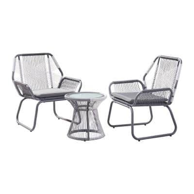 Milan Gray and White 3-Piece Wicker and Metal Patio Conversation Set with Gray Cushions