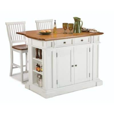 Homestyles Americana White Kitchen Island With Seating 5002 948 The Home Depot