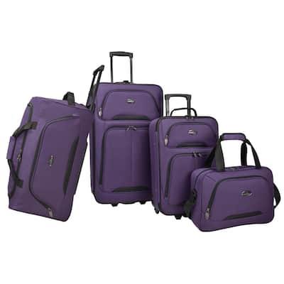 U.S Traveler Vineyard 4-Piece Soft side Luggage Set, Purple
