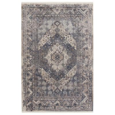 Langdon Blue/Gray 9 ft. x 13 ft. 6 in. Medallion Rectangle Area Rug