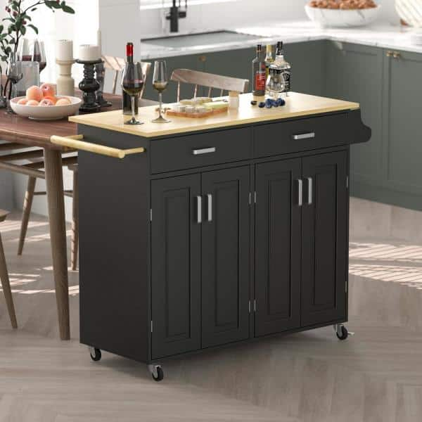 Fufu Gaga Black Dining Cart Bar Serving Cart Rolling Utility With Two Drawers And Two Cabinets Lockable Wheels Home Kitchen Carts Tcht Kf260003 The Home Depot