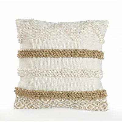 Knot Beige / White Neutral 20 in. x 20 in. Textured Cotton Standard Throw Pillow