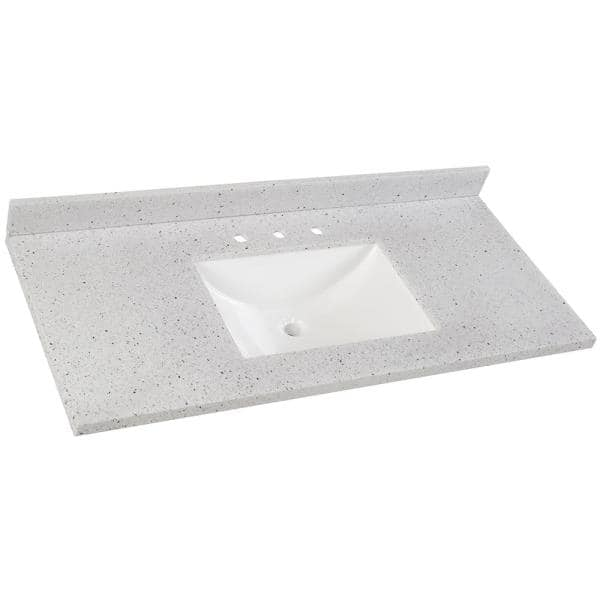 Home Decorators Collection 49 In Solid Surface Vanity Top In Silver Ash With White Sink Ss49r Ah The Home Depot