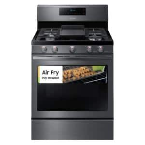 30 in. 5.9 cu. ft. Single Oven Gas Range with Air Fry, True Convection in Black Stainless Steel