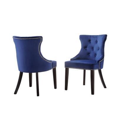 Julia Blue Velvet Upholstered Tufted Back Nail Head Chair (Set of 2)