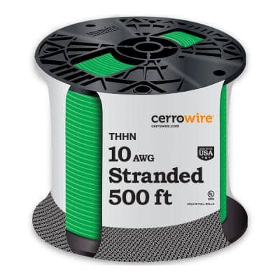 500 ft. 10/1 Green Stranded THHN Wire