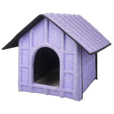 Collapsi-Pad Folding Lightweight Travel Pet House with Inner Mat in Purple