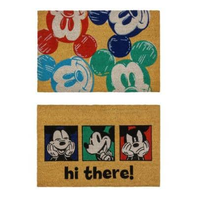 Mickey Mouse Hi There and Colorful Heads 20 in. x 34 in. Coir Door Mat (2-Pack)