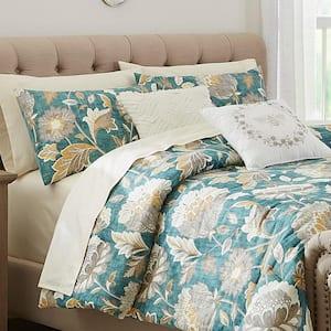 Larkspur 5-Piece Charleston Teal Cotton Full/Queen Comforter Set