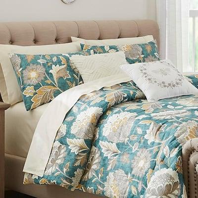 Larkspur 5-Piece Charleston Teal Cotton King Comforter Set