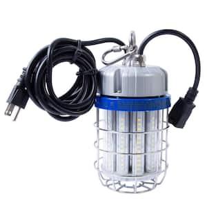 30-Watt LED Luminaire Temporary Plug-In Work Light Fixture, Stainless Steel Cage