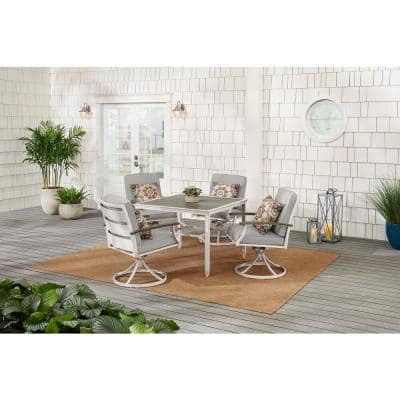 Marina Point White Steel Outdoor Patio Swivel Dining Chair with CushionGuard Stone Gray Cushions (2-Pack)
