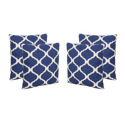 Fundy Blue and Beige Square Outdoor Throw Pillows (Set of 4)