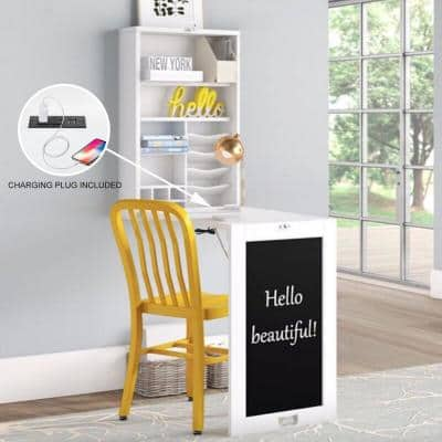 Collapsible Fold Down Desk Table/Wall Cabinet with Chalkboard, Multi-Function computer Desk
