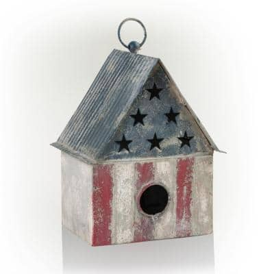 10 in. Tall Outdoor Patriotic Birdhouse, Multicolor