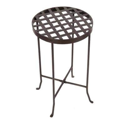 25 in. Tall Roman Bronze Powder Coat Metal Large Round Table Flowers Plant Stand