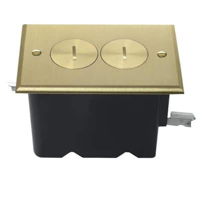Pass & Seymour Slater Bronze 1-Gang Floor Box with Tamper-Resistant Duplex Outlet for Wood Sub-Floor