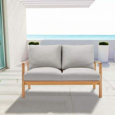 Orlean Eucalyptus Wood Outdoor Loveseat in Natural with Light Gray Cushions
