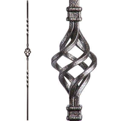 Twist and Basket 44 in. x 0.5 in. Copper Vein Single Basket Hollow Wrought Iron Baluster