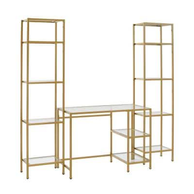 Aimee 78 in. Soft Gold Writing Desk with 2-Piece Etagere