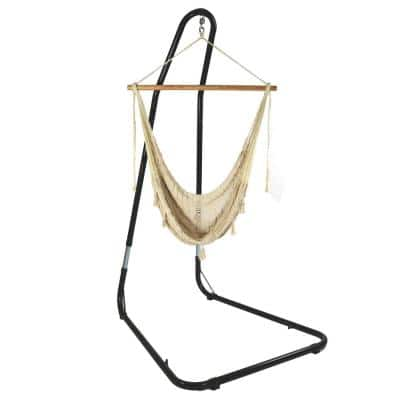 4 ft. L X-Large Mayan Hammock Chair with Wood Spreader Bar and Stand in Natural