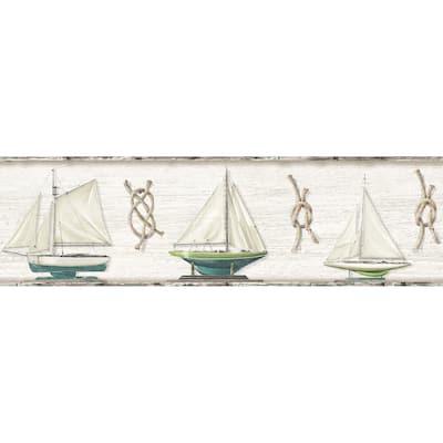 Set Sail Grey Boat Grey Wallpaper Border