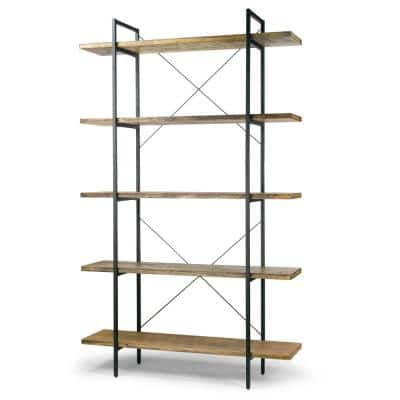 Amrit 84.5 in. Wood Shelf Metal Frame Etagere Bookcase 5-shelf Media Center
