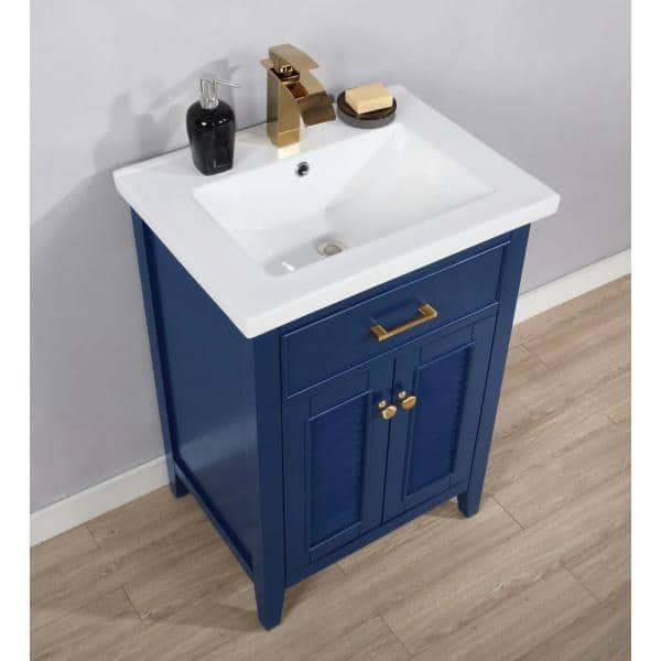 Design Element Cameron 24 In W X 18 5 In D Bath Vanity In Blue With Porcelain Vanity Top In White With White Basin S09 24 Blu The Home Depot
