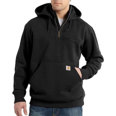 Men's Extra Large Black Cotton/Polyester Rain Defender Paxton Heavyweight Hooded Zip Mock Sweatshirt
