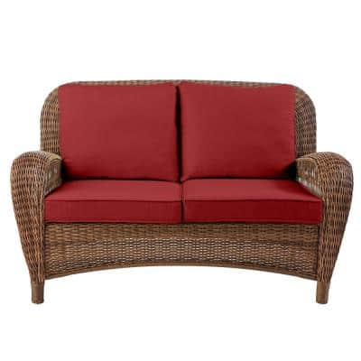 Beacon Park Brown Wicker Outdoor Patio Loveseat with CushionGuard Chili Red Cushions