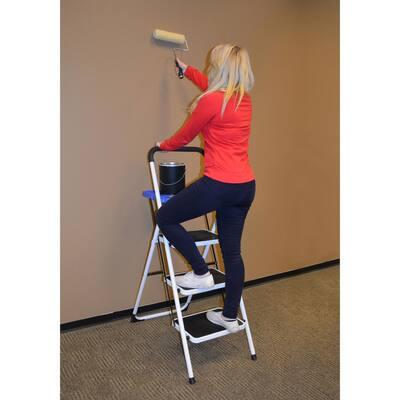 3-Step Metal Folding Utility Ladder with 1-Step Folding Mini Step Stool