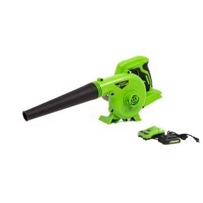 90 MPH 180 CFM 24-Volt Battery Cordless Shop Blower with 2.0 Ah USB Battery and Charger