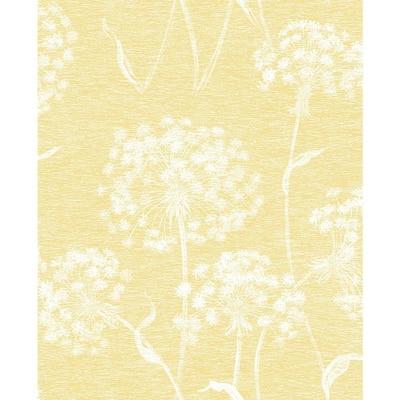 Carolyn Yellow Dandelion Sage Wallpaper Sample