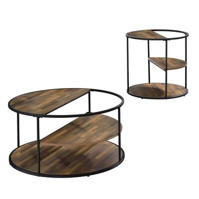 Henvale 35.38 Black Rectangle Wood Top 2-Piece Coffee Table Set