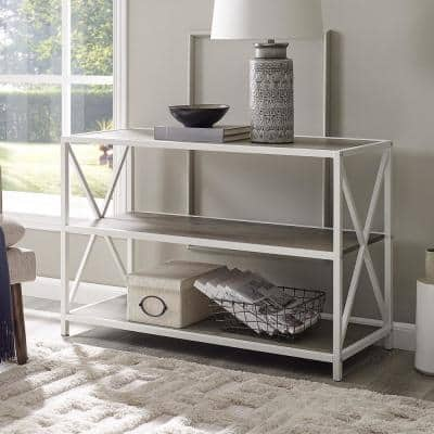 26 in. Gray Wash/White Metal 3-shelf Etagere Bookcase with Open Back
