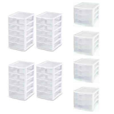 7.25 in. x 11.125 in. Small 5-Drawer Unit (4-Pack) with Storage Cabinet (4-Pack)