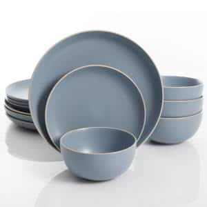 Rockaway 12-Piece Modern Blue Matte Finish Ceramic Dinnerware Set (Service for 4)