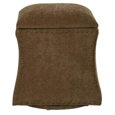 St. James Earth Fabric with Antique Brass Nail-Heads Swivel Ottoman