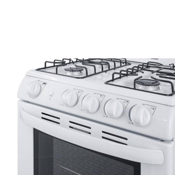 Summit Appliance 24 In 2 9 Cu Ft Gas Range In White Rg244ws The Home Depot