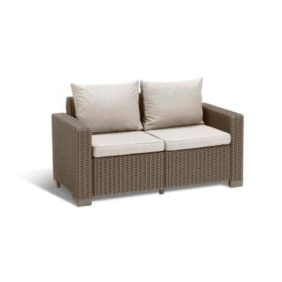 California Cappuccino Plastic Wicker Outdoor loveseat with Sand Cushions