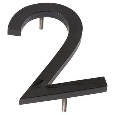 6 in. Black Aluminum Floating or Flat Modern House Number 2
