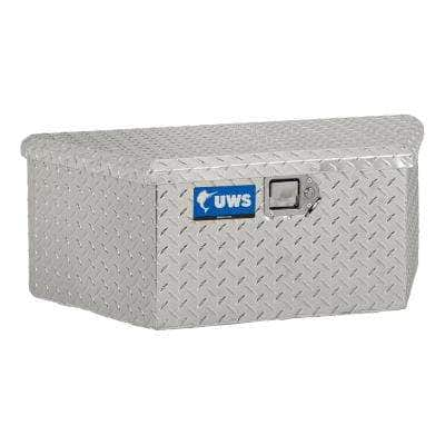 """Bright Aluminum 34"""" Trailer Tongue Box with Low Profile (Heavy Packaging)"""