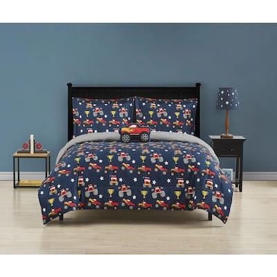 Monster Truck 3-Piece Comforter Set, Blue, Navy, Red, Yellow, Twin