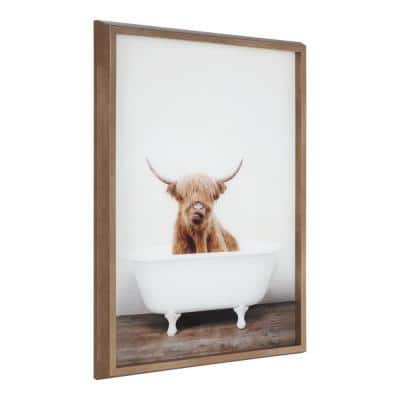 """Blake """"Highland Cow in Tub Color"""" by Amy Peterson Art Studio Framed Printed Glass Wall Art 18 in. x 24 in."""