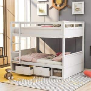 White with Drawers and Storage Full Over Full Bunk Bed