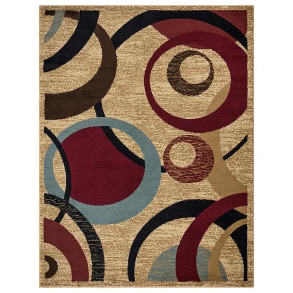 Ottomanson Contemporary Abstract Beige 5 Ft X 7 Ft Area Rug Ryl1182 5x7 The Home Depot