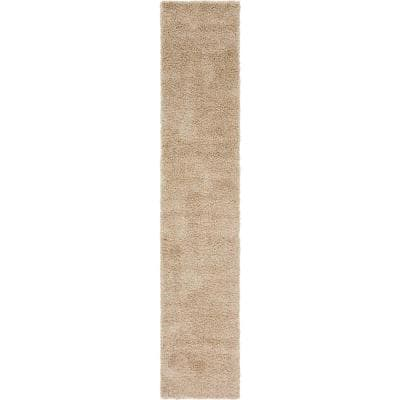 Solid Shag Taupe 13 ft. Runner Rug