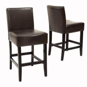 Lopez 26 in. Brown Leather Counter Stool (Set of 2)