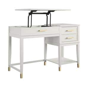 Westerleigh 45.7 in. White Lift-Top Computer Desk